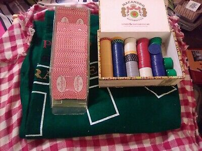 Blackjack Felt, 4 decks Of Sheridan Cards, And Chips In A vintage Cigar Box