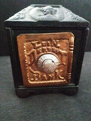 Antique Cast Iron Safe Coin Deposit Bank Combination Lock