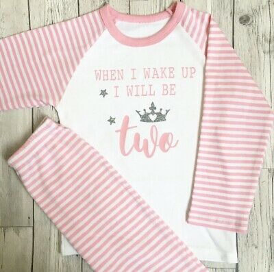 Personalised Second Birthday Pyjamas When I Wake Up I Will Be 2 2nd Pjs