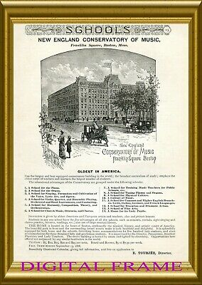 New England Conservatory of Music pic in orig. 1888 fpg ad + FAB BONUS ADS CD
