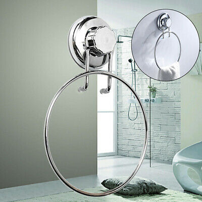 Wall Mounted Towel Ring Suction Cup Holder Stainless Steel Accessory Bathroom