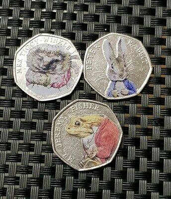 3 x Beatrix potter 50p coins with colour decals,Fifty pence,UK/GB,2016/2017