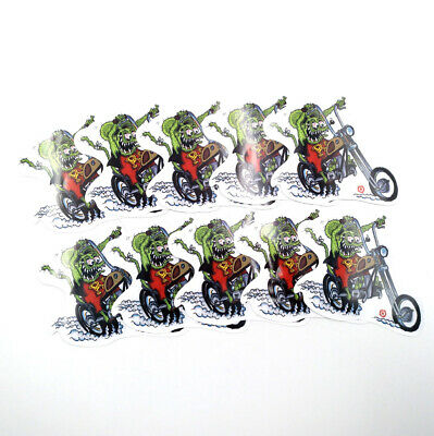 Red Rat Fink Big Daddy Ed Roth 10pcs Vinyl Decal Motorcycle Wall Bumper Stickers
