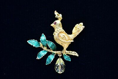 Christmas Pin Partridge In A Pear Tree Brooch Finest Genuine Crystals P5363