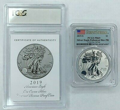 2019-S American Eagle One Ounce Silver Enhanced Reverse Proof Coin PCGS PR69 FS