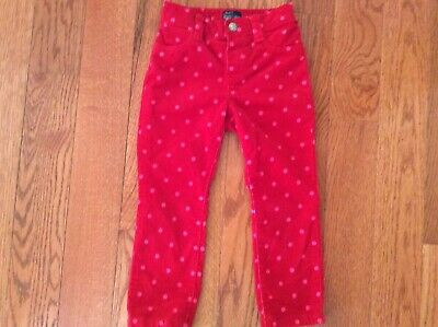 Children's Place Girls 3T Stretch Red with Pink Polka  Dot Corduroy Jeggings