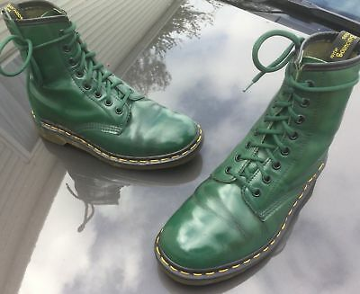 Vintage Dr Martens 1460 green leather boots UK 4 EU 37 Made in England