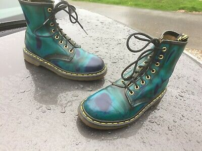 Vintage Dr Martens 1460 blue cosmic leather boots UK 5 EU 38 Made in England