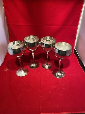 """Four EPNS Leonard Silver Plated Wine Goblet 7 1/4"""""""" Tall glass silver India"""