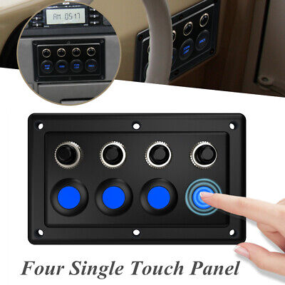 4-position Single Touch Panel Control Light Switch 12-24V For RV car Yacht Cabin