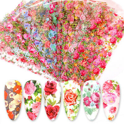 10 Sheets Nail Art Foils Stickers Flower Pattern Transfer Decals Decoration DIY