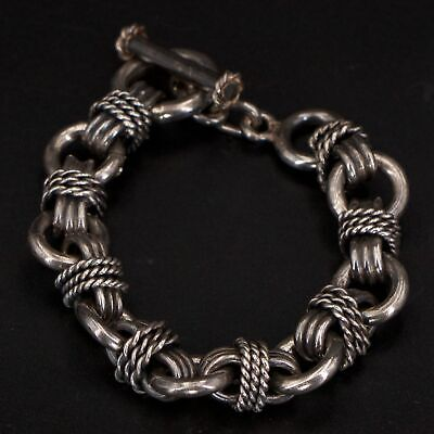 """VTG Sterling Silver - MEXICO Braided Double Chain Link 7.5"""" Toggle Bracelet 67g"""