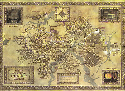 Map of Middle Earth from Lord of the Rings Art Wall Silk Poster 24x36