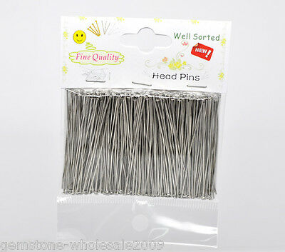 5 Packet Silver Plated Well Sorted Head Pins5cm 1500PCs
