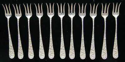 """Lot of 11 Stieff ROSE Sterling Silver Oyster/Cocktail Fork 5.75"""" w/ Mono B0867"""