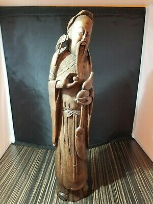 "13"" Antique Chinese Exquisite Hand-carved Old man Carving bamboo statue"