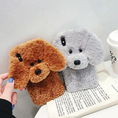 3D Plush Cute Teddy Dog Phone Case Cover For iPhone 11 Pro Max XR XS 8 7 6 Plus