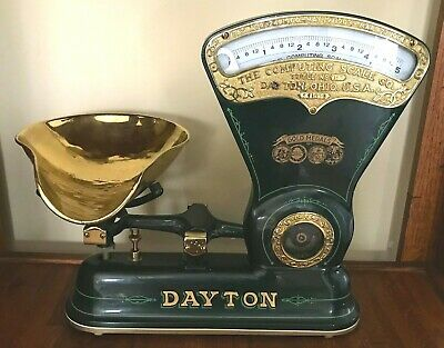 VINTAGE Antique 1906 DAYTON Style 167 CANDY SCALE Food Refinished Green & Brass