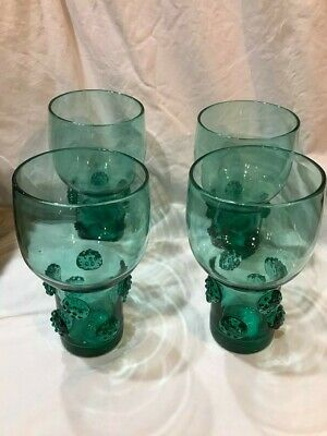 "VTG Set of Four Aqua/Green BLENKO HAND BLOWN GLASSES with Prunts (6"")"