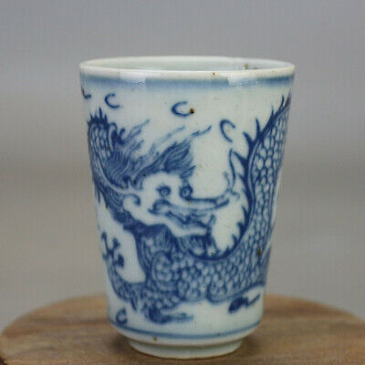 Chinese old hand-carved porcelain Blue and white dragon pattern Kung fu cup b01