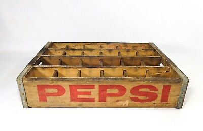 Mid 20Th C Vint Pepsi Cola Wooden Box Crate, W/Red Ink (24) Bottle Carrier 18.5""