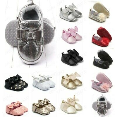 Toddler Kid Baby Girls Princess Cute Toddler First Walk Bow Knot Tie Silk Shoes