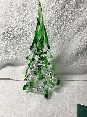 Vintage Murano Glass Hand Blown Christmas Tree Clear Green Vintage 8""
