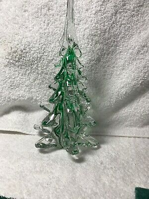 Vintage Murano Glass Hand Blown Christmas Tree Clear Green Vintage 9""
