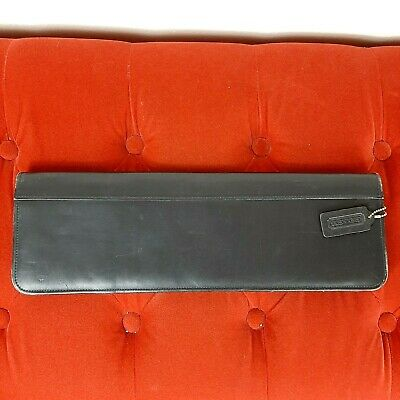 Coach Tie Travel Case Black Leather Holder Cover Agenda Note Pad Vintage EUC