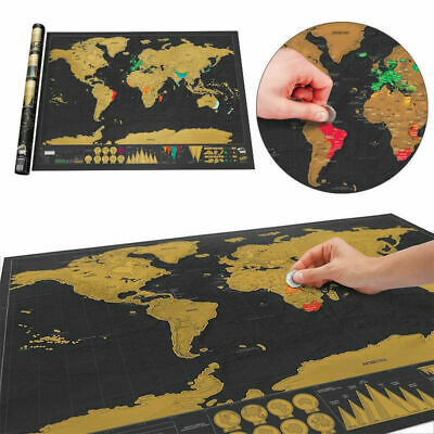 Mini Scratch Off World Map Deluxe Edition Travel Log Wall Poster Decore Jou R8I4
