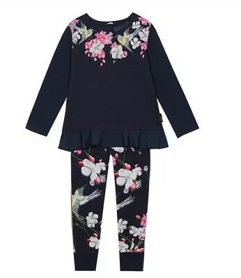 Baker by Ted Baker - Girls' Navy Floral Print Pyjama Set BNWT 3-4
