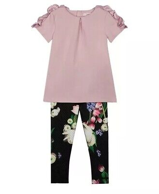 Ted Baker Girls' lilac top and black floral print leggings set BNWT RRP £36 6-7