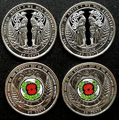 0.50 cent  NZ 2015/2018 Spirit of Anzac/Armistice Day (4 in total) Circulated