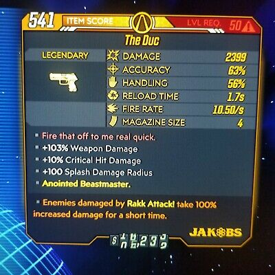 (PS4) Borderlands 3 - The Duc - RAKK ATTACK 100% Fl4k (Flak) God Roll!