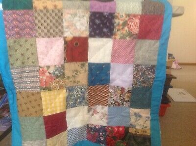Beautiful Handmade Cot Quilt  Aaprox 84 X 70 Cm