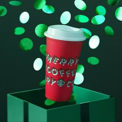 """NEW Starbucks Holiday/Christmas 2019 Reusable Red Hot Cup, """"Merry Coffee"""", 16oz"""