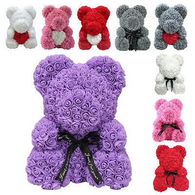 Foam Rose Bear Teddy Bear Doll Toy Wedding Birthday Valentine Gift Kid Girl +Box