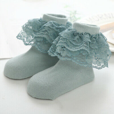 Cute Girl Lace Ruffle Frilly Ankle Socks Princess Baby Solid Cotton Warm Socks