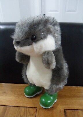 """10"""" Grey & White Hedgehog In Green Boots Soft Toy By Birthdays"""