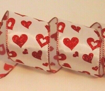 """5 Yds Christmas Valentines Red Glitter Mesh Web Wired Ribbon 1 1//2/""""W"""