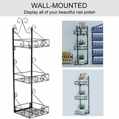 3 Tier Metal Wall Mounted Nail Polish Rack Organizer Display Holder Shelf Type