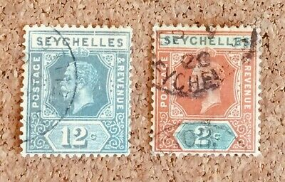 Seychelles Stamps x 2 (George V 2c and 12c)