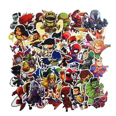 Set de 50 Stickers Marvel - Lot Autocollant Superman Spiderman Hulk Flash Batman