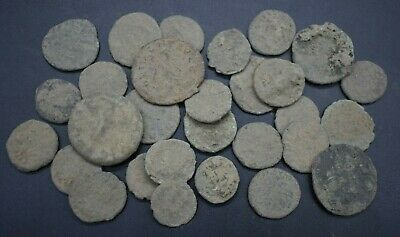 Group of 30 uncleaned ancient Roman bronze coins