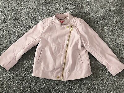 Girl Pink Leather Zip Up Look Biker Summer Fashionable Jacket H&M Age 3-4 Years