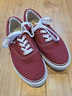 Ladies Older Girls River Island Red Canvas Trainers Plimsolls Lace Up Size UK 6