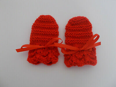 Hand Knitted Baby Mittens with Ribbon Tie Red Newborn 0-3 Months