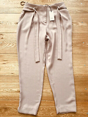 Ladies Older Girls River Island Pink Paper Bag Trousers Size 12 NEW WITH TAGS