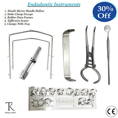 Professional Endodontics Dental Rubber Dam Instruments Kit Brewer Clamps Tray