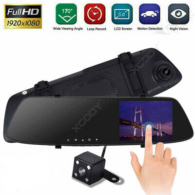 "Dual Lens 5"" Touch Car DVR 1080P Dash Cam Rearview Mirror Camera Video Recorder"